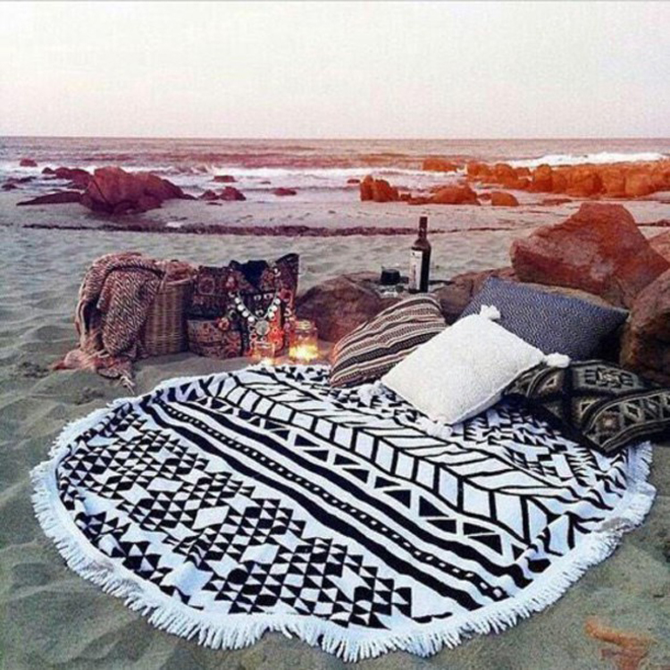 Fringe Round printed Turkish beach towels 100 <strong>cotton</strong>