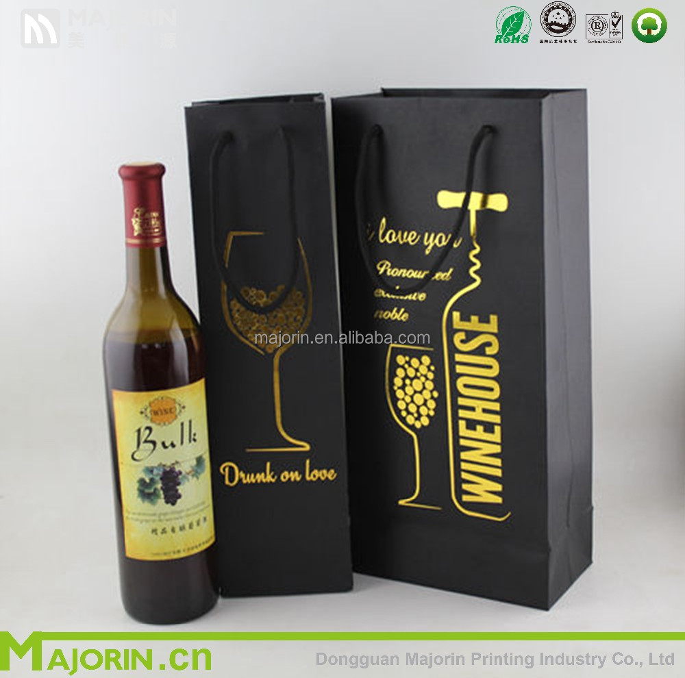 Customized printed high quality wine paper packaging box wine bag