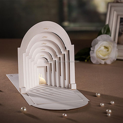 Arch Design 3D Card White Church Emboss Couple Fold Wedding Invitation