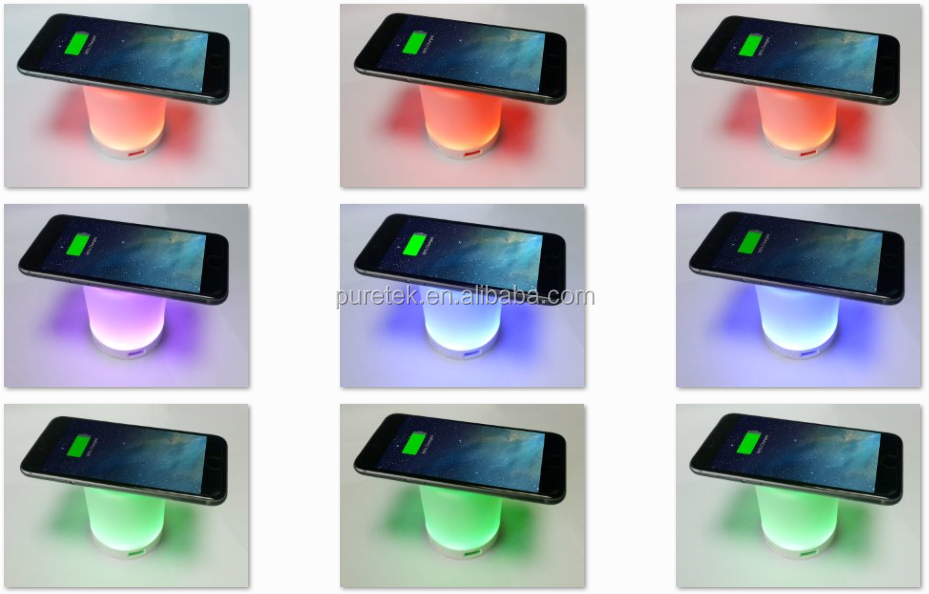 10000mAh QI wireless Charger Powerbank with Colorful LED Night Light/Reading Lamps/Table Lamp for iPhone7 and for Samsung