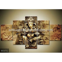 5 pieces Handmade oil paintings of ganesha modern holy Indian god framed art on canvas