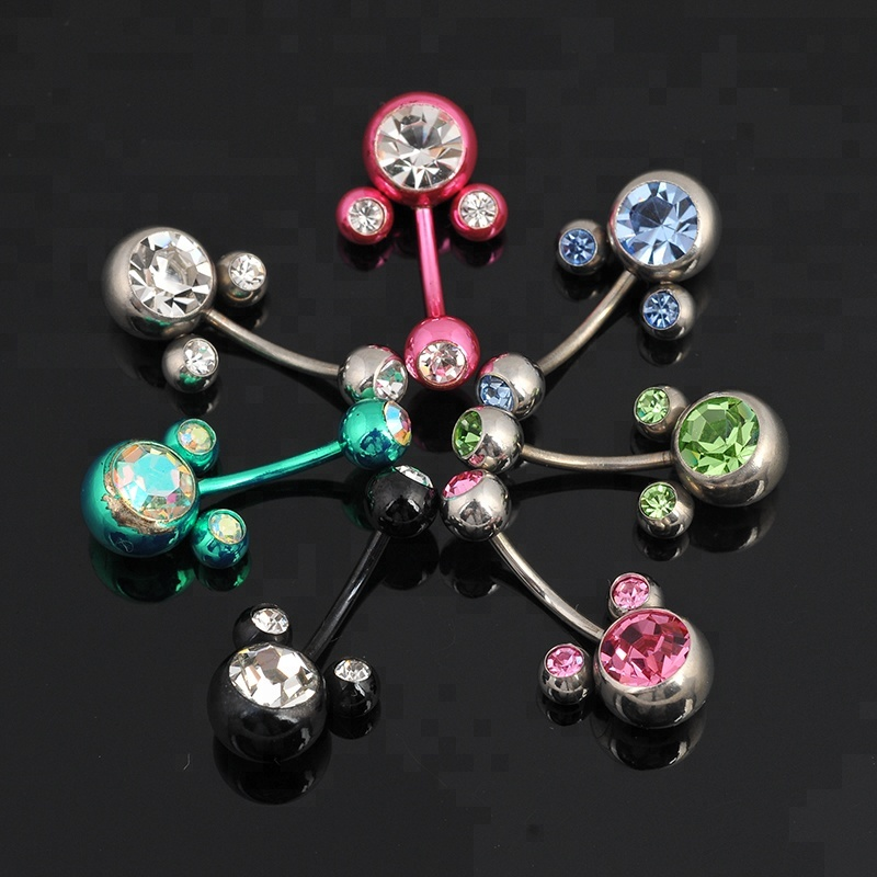Fancy multi jeweled ball navel belly button rings