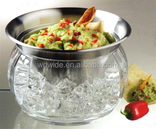 Wholesale Dip Chillers Acrylic Salad Bowl On Ice Bowls With Stainless Steel Plate