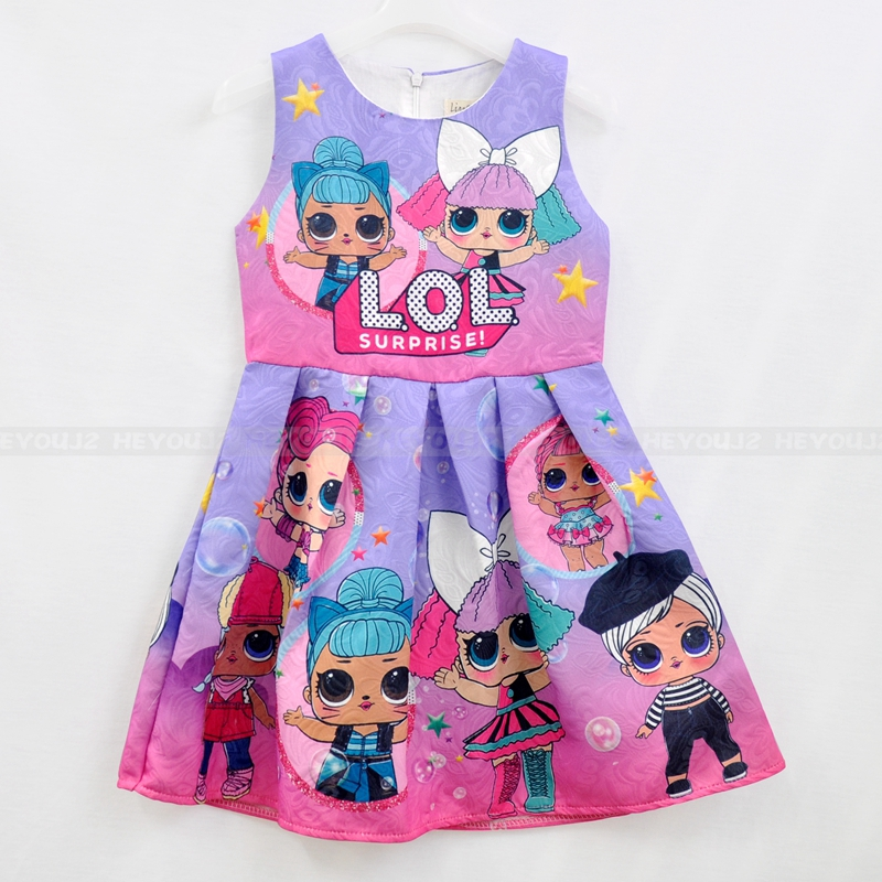 New fashion China kids dress fancy cartoon sleeveless casual dresses