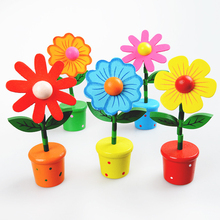 Handmade sunflowers crafts decoration educational wooden push toy