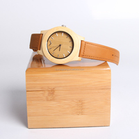 High Quality Japan Movt Bamboo Watch Belt Genuine Leather Your Logo