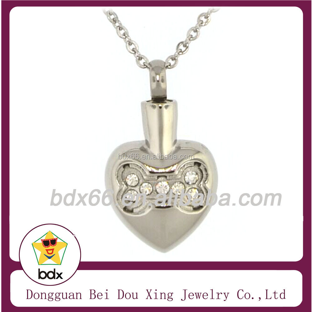 Fashion Pet Cremation Jewelry 2015 Wholesales Stainless Steel Open Crystal Dog Bone Heart Shape Memorial Keepsake Ash Pendant
