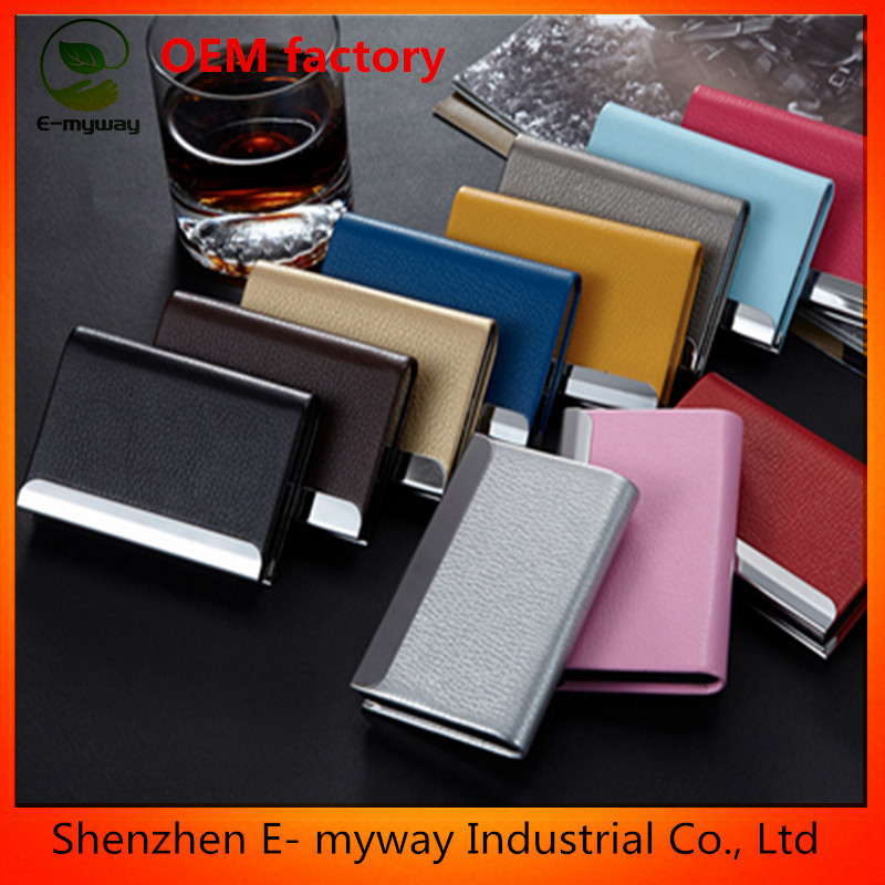 leather goods factory stainless steel name card holder/namecard case/promotional name card holder cheap