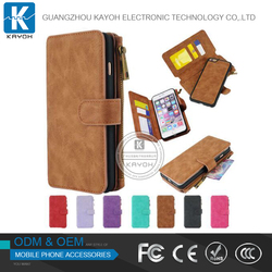 [kayoh]Luxury Leather Case Cover Zipper Wallet Card Multifuncation Genuine Mobile Leather Phone Case For Iphone 6 6s 6plus