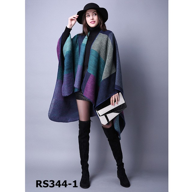 2016 Fashion wholesale acrylic poncho shawl