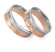 Fashion Stainless Steel Two Tone Couple Wedding Band Rings for Lovers