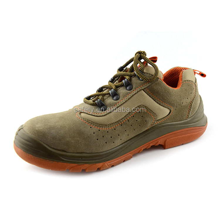Feet protective genuine suede leather working safety shoes