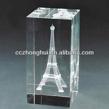 Complete Crystal Block with Eiffel Tower