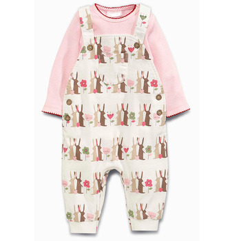 Pink Printed kids dungarees And Bodysuit