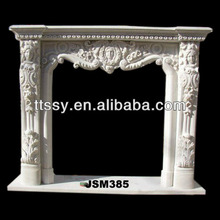 caved natural indoor marble fireplace