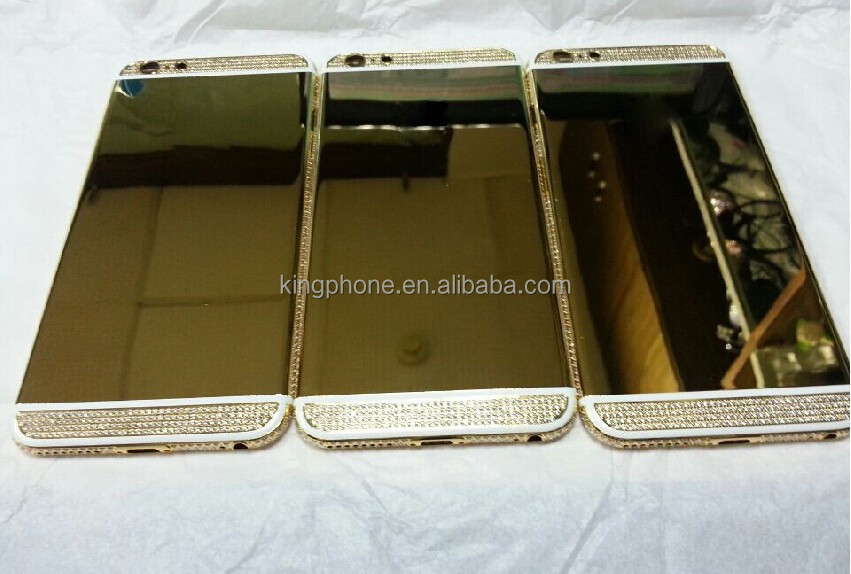 24kt Luxury Gold Plated Housing With Diamonds For iPhone 6 6 Plus, for iphone 6 replacement crystal housing