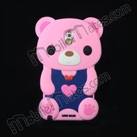 3D Lovely Bear Soft Silicone Case For Samsung Galaxy Note 3 N9000 N9005 N9008 Protective Case (Pink)