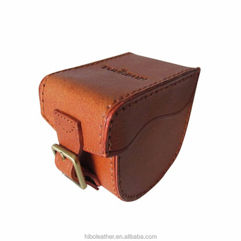 Tourbon Durable Fishing Bags Vintage Brown Genuine Leather Fly Fishing Reel Case Cover