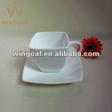 220ml square porcelain coffee cup and saucer