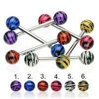 316l surgical steel tongue barbells with uv zebra ball body piercing jewelry,zebra piercing