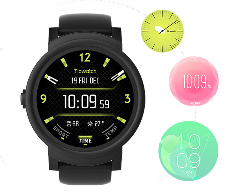 Original Ticwatch E Smart Watch 2.0 Bluetooth 4.1 MTK2601 Dual Core Android Wea For iOS/Android Free Gift-Steel Protection Film