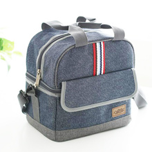 2017 new style jean double deck aluminium insulated lunch bag cooler bag Heat Protecting Bags