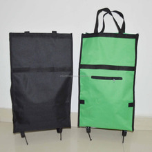 Foldable shopping cart trolley /Portable travelling bags with trolley /polyester trolley bag