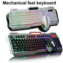 Colorful Mechanical Feel gaming 2.4g wireld bamboo keyboard and mouse combo for Desktop