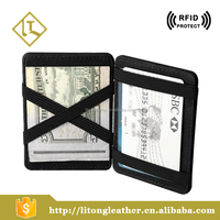 Factory supply funny money clip slim magic wallet with elastic straps