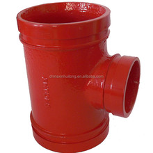 Fire fighting piping delivery UL FM CE grooved reducing tee red epoxy painted
