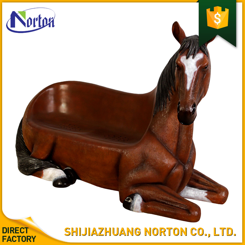 Outdoor kneeling resin horse bench statue for park and garden decoration NT--FS271J