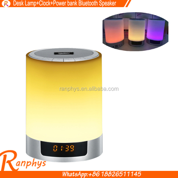 Ranphys DY29 Wireless Desk Lamp+Clock+Power Bank Bluetooth Speaker With Power Bank LED Light Clock