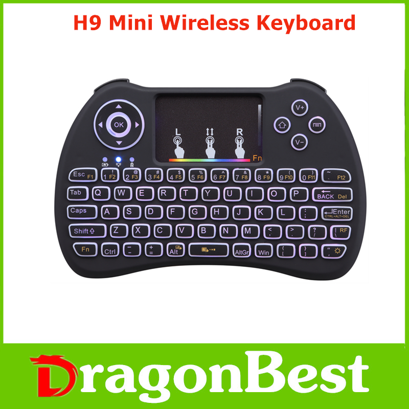 2017 Best price of H9 Mini Keyboard with Touchpad colorful backlit gaming mouse pad With Long-term service 2.4G Wireless remote