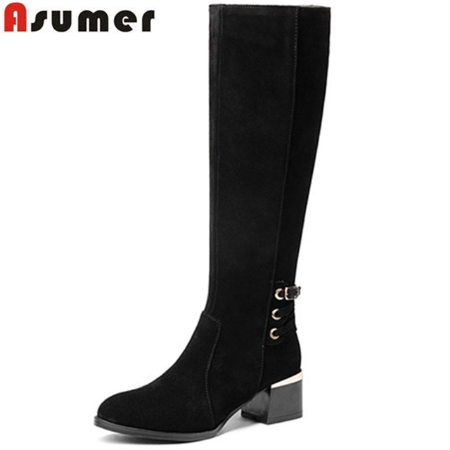 Asumer fashion black brown women boots zipper buckle ladies genuine leather boots square heel cow leather knee high boots