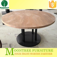 Moontree MDT-1136 teak wood top metal bases dining table