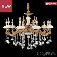 Competitive price European Dining room Copper 10 lights Copper Crystal Natural jade classic chandeliers