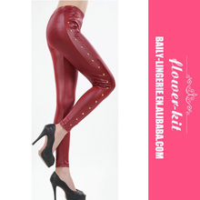 Sexy Red Leather Look Leggings With Side Seam Stud Feature