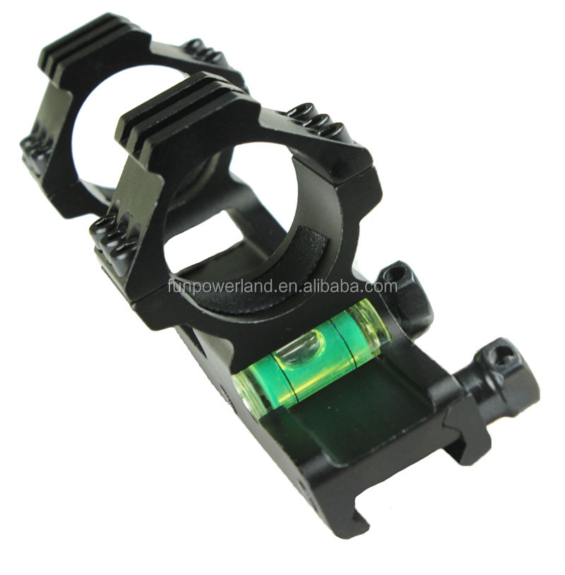 "30mm Rifle Scope Rails Dual Ring Scope Mount with Bubble Level (can be with plastic insert to 1"")"