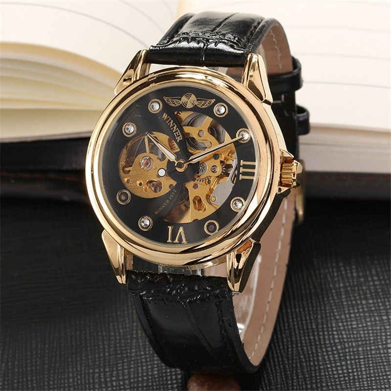 WINNER watches men low price good quality hand wind mechanical watch male dress luxury black band gold case skeleton watch