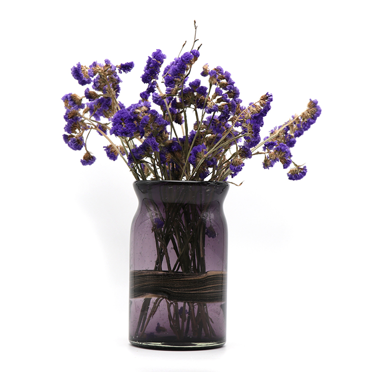 High quality wholesale cheap 12TD*12BD *21H black purple wide mouth glass bud vase for customize different processes home decor