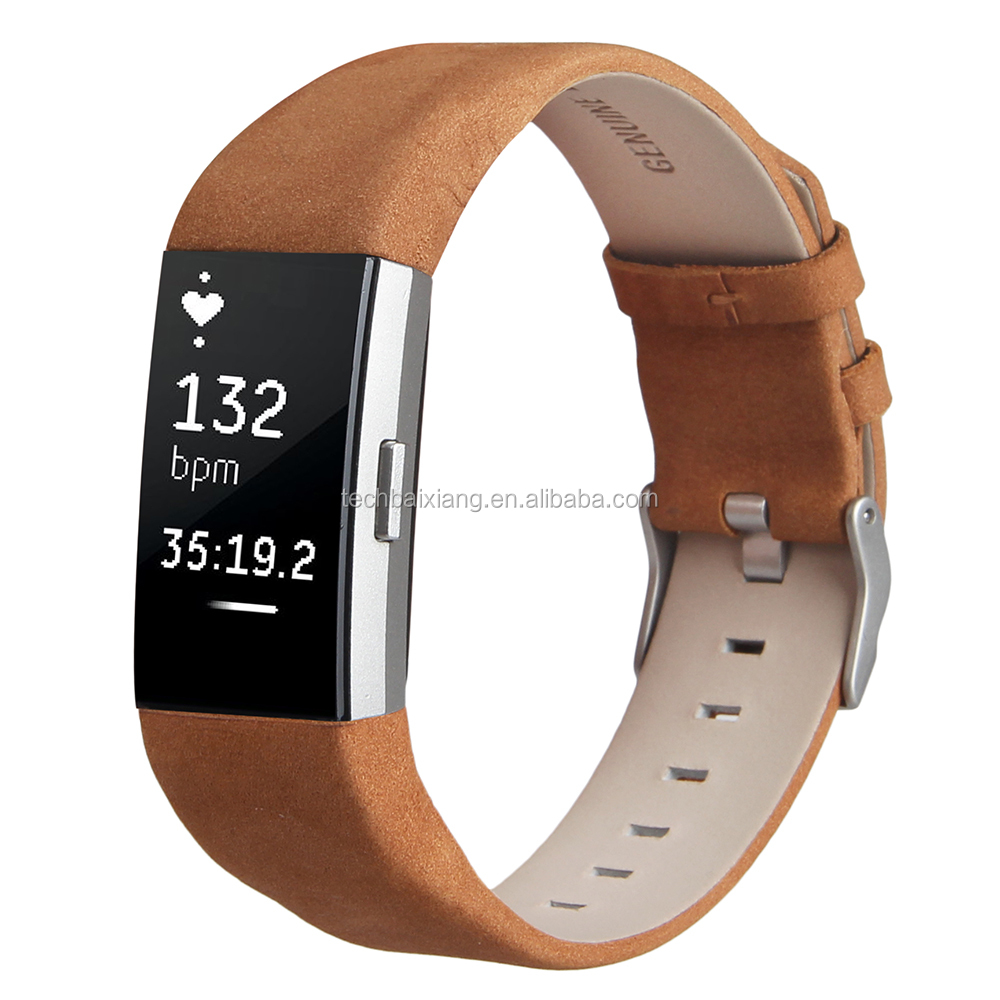 Soft brown leather watch band for Fitbit Charge 2 watch straps watch replacement bands