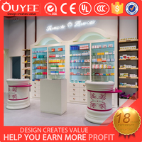Durable design wooden perfume display stands cabinet cosmetic store display design for cosmetic store