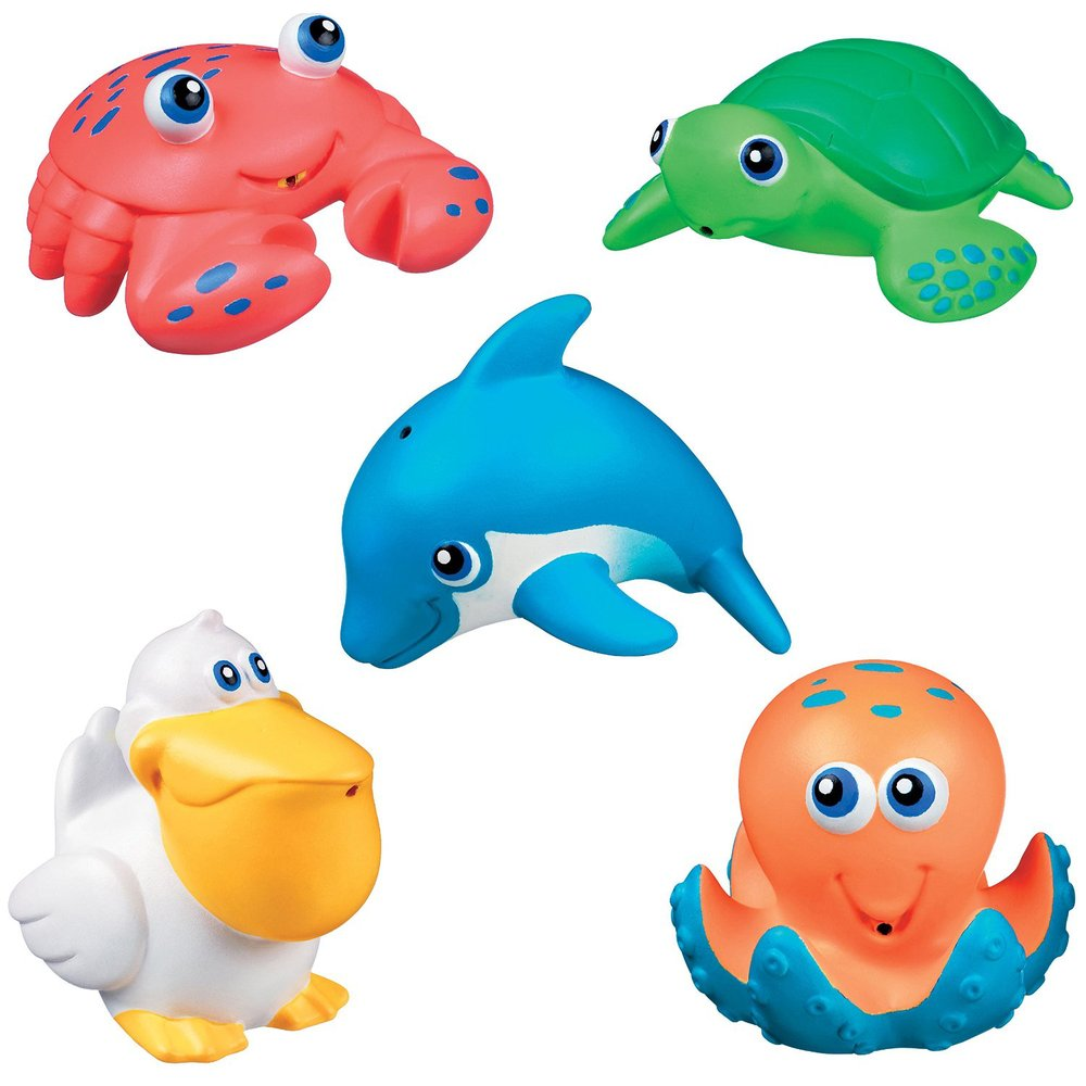 set of Five Sea Squirts Bath Toys From China ICTI Factory