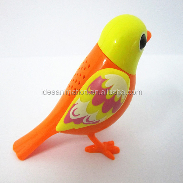 With EN71-123 OEM custom diy bird toy pvc plastic electric singing colorful toy bird for kids