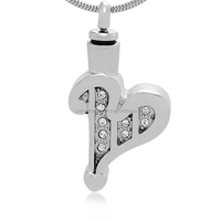 Wholesales Pet Funeral Jewelry Stainless Steel Unisex Alphabet Letter Shape Memorial Cremation Keepsake Urn Pendant With Crystal