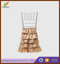 cheap satin layered skirting back chair covers, half chair back covers for wedding