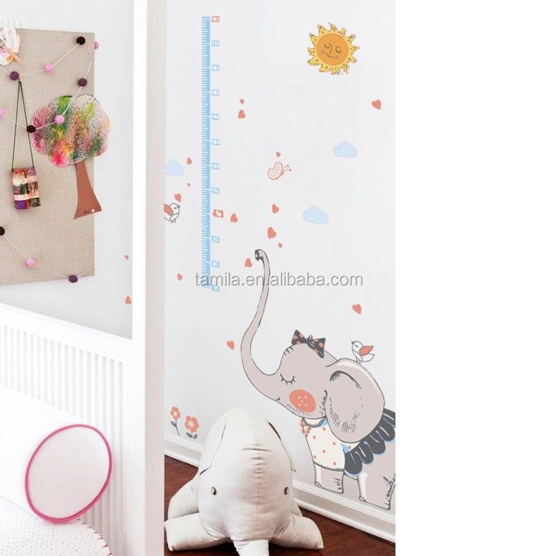 Customed Printed Elephant Growth Chart Cheap Decorative PVC Kids Height Measure Wall Sticker