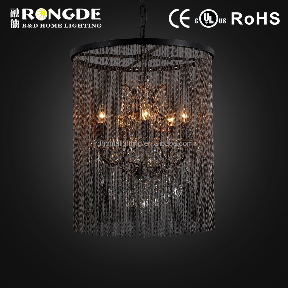 2015 Modern decorative metal chain chandeliers with crystal