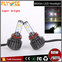 2016 Flydee Super bright car accessories 80W 9600lm H1 H3 H4 H13 9004 9005 9006 9007 V16 CREEs led headlight for toyota