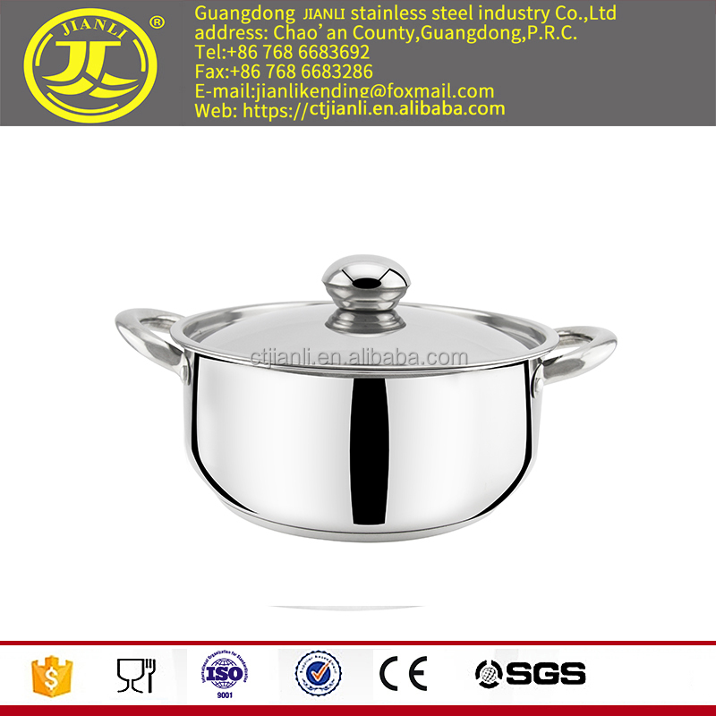 Stainless steel soup pan with laser polish
